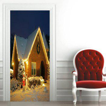 Snow Night Christmas Cottage Pattern Door Art Stickers - COLORMIX COLORMIX