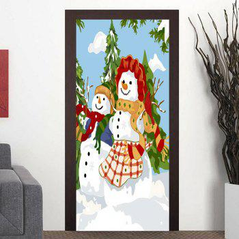 Christmas Two Snowmen Pattern Door Stickers - COLORMIX COLORMIX