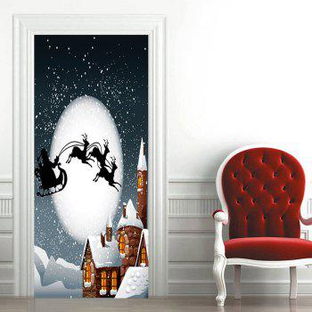 Moon Night Santa Sleigh motif Noël porte Art Stickers - multicolore 38.5*200CM*2PCS