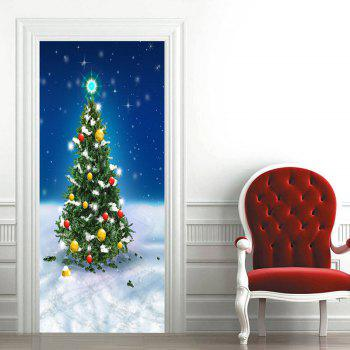 Snowfield Christmas Tree Pattern Door Cover Stickers - COLORMIX 38.5*200CM*2PCS