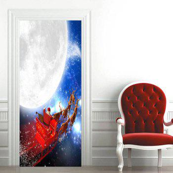 Moon Santa Sleigh Pattern Christmas Door Cover Stickers - COLORMIX COLORMIX