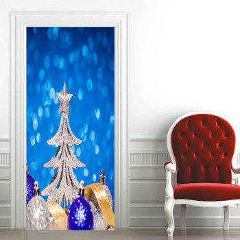 Christmas Tree and Balls Pattern Door Cover Stickers - BLUE 38.5*200CM*2PCS