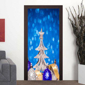Christmas Tree and Balls Pattern Door Cover Stickers - BLUE BLUE