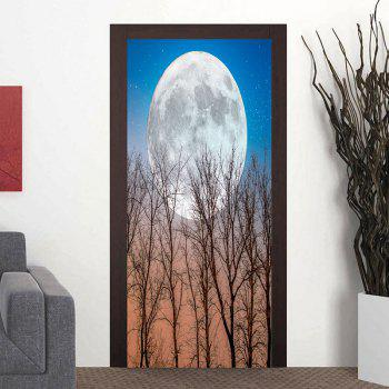 Round Moon and Tree Door Art Stickers - BLUE BLUE