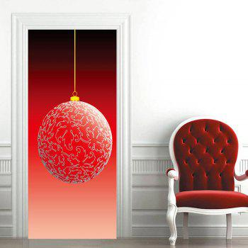 Christmas Big Ball Ornament Door Art Stickers - RED 38.5*200CM*2PCS