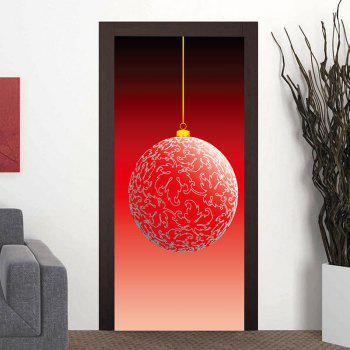 Christmas Big Ball Ornament Door Art Stickers - RED RED