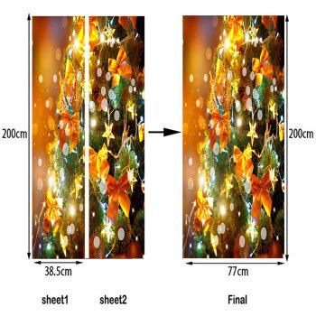 Bowknot Star Embellished Door Cover Stickers - YELLOW 38.5*200CM*2PCS