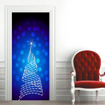 Dot Star Embellished Door Art Stickers - BLUE BLUE