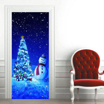 Snowman Christmas Tree Pattern Door Art Stickers - BLUE 38.5*200CM*2PCS