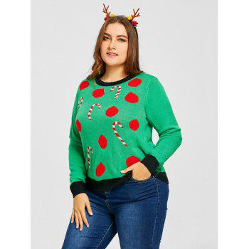 Plus Size Christmas Polka Dot Sticks Jacquard Sweater - GREEN GREEN