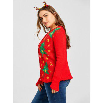 Plus Size Christmas Tree Star Jacquard Ruffle Cardigan - RED RED