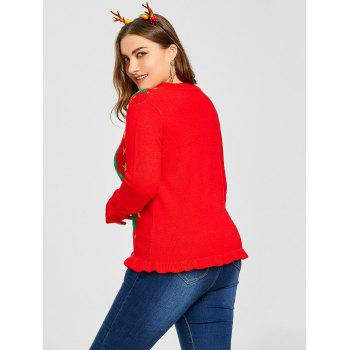 Plus Size Christmas Tree Star Jacquard Ruffle Cardigan - RED XL