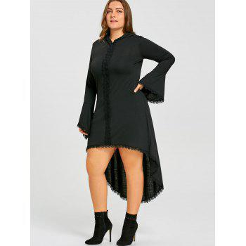 gothic plus size hooded high low dress, black, xl in plus size