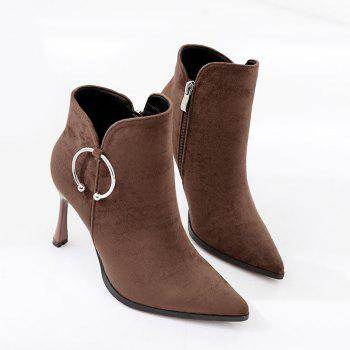Metal Ring Stiletto Heel Ankle Boots - BROWN 38