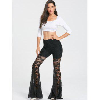 Lace Trim Dance Flare Pants - BLACK L