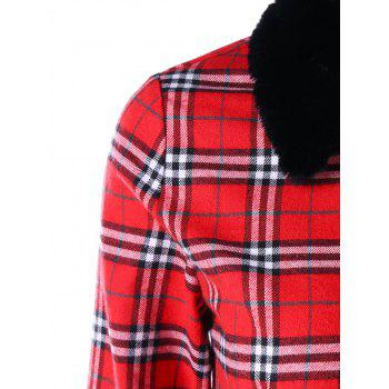 Plus Size Plaid Longline Skirted Coat - RED 2XL