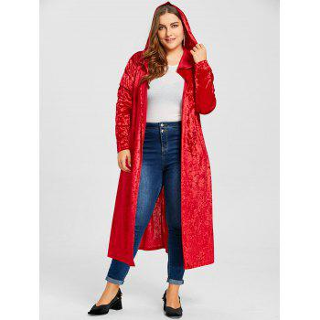 Plus Size Pom Ball Hooded Velvet Maxi Coat - RED 2XL
