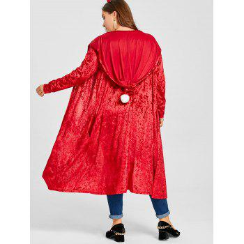 Plus Size Pom Ball Hooded Velvet Maxi Coat - RED 3XL