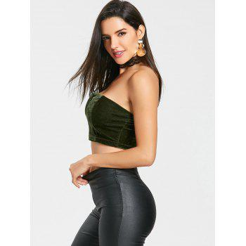 V Cut Velvet Tube Crop Top - GREEN XL