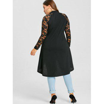 Plus Size Lace Panel Ripped Tunic Top - BLACK 5XL