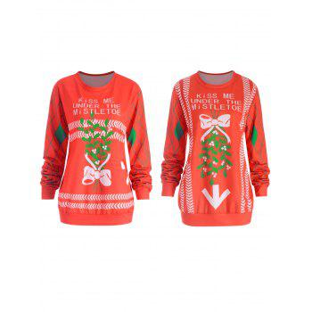 Christmas Letter Bowknot Print Plus Size Sister Sweatshirt - RED 3XL