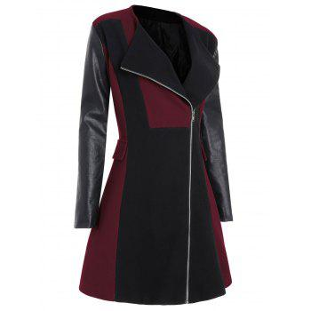 Plus Size Color Block Faux Leather Sleeve Coat - WINE RED 5XL