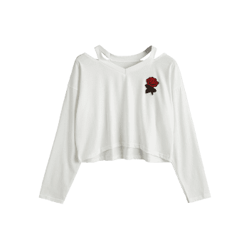 Rose Embroidered Patches Cold Shoulder Sweatshirt - WHITE XL