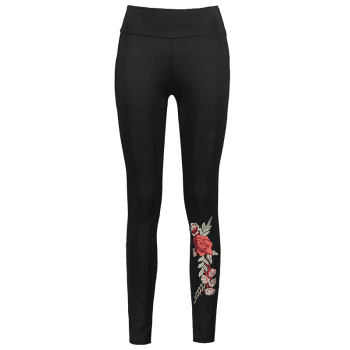 Floral Patched High Waisted Leggings - BLACK S