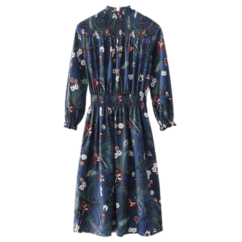 Smocked Panel Floral Long Sleeve Midi Dress - FLORAL L