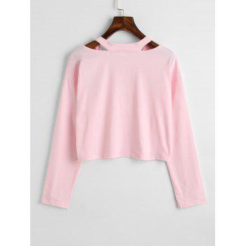 Rose Embroidered Patches Cold Shoulder Sweatshirt - PINK L