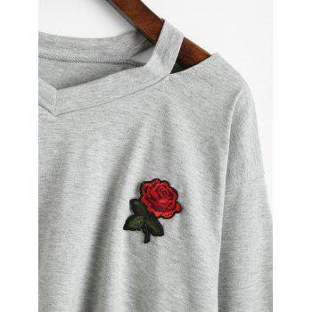 Rose Embroidered Patches Cold Shoulder Sweatshirt - GRAY M