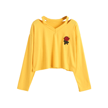 Rose Embroidered Patches Cold Shoulder Sweatshirt - YELLOW L