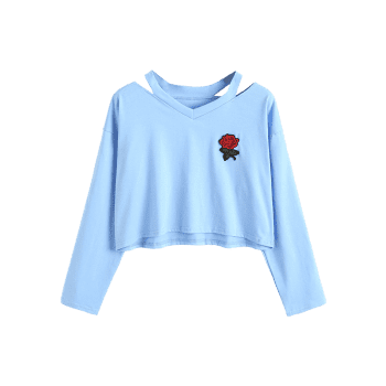 Rose Embroidered Patches Cold Shoulder Sweatshirt - LIGHT BLUE M