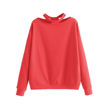 Cut Out Loose Cotton Sweatshirt - RED S
