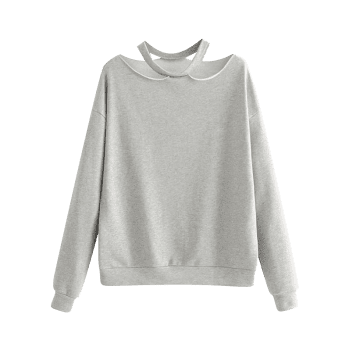 Cut Out Loose Cotton Sweatshirt - GRAY M