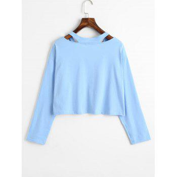Rose Embroidered Patches Cold Shoulder Sweatshirt - LIGHT BLUE S