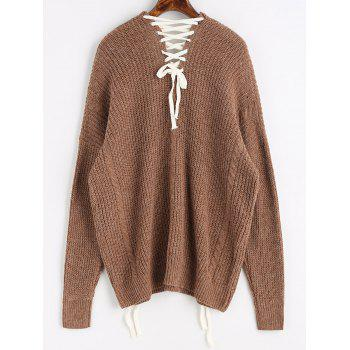 Contrasting Lace Up Oversized Sweater - DARK KHAKI ONE SIZE