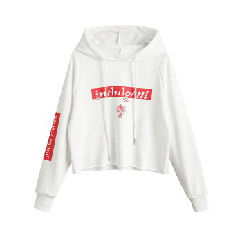 Sweat à Capuche Tunique à Lettre - Blanc XL