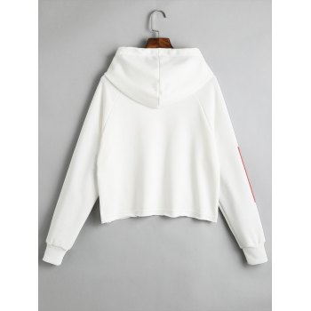 Pullover Letter Tunic Hoodie - WHITE XL