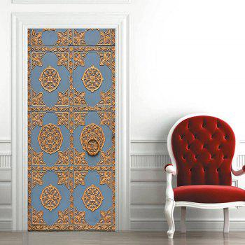 Vintage Style Printed Home Decals Door Cover Stickers - BLUE 38.5*200CM*2PCS