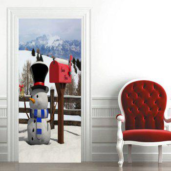 Christmas Snowman and Postbox Pattern Door Cover Stickers - WHITE 38.5*200CM*2PCS