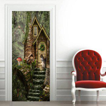 Forest Castle Pattern Door Stickers - GREEN 38.5*200CM*2PCS