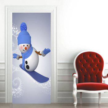 Christmas Snowman Skiing Pattern Decorative Door Stickers - GRAY 38.5*200CM*2PCS