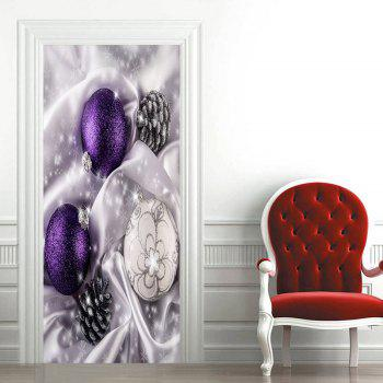 Christmas Ornament Ball and Pine Cone Printed Door Art Stickers - WHITE 38.5*200CM*2PCS