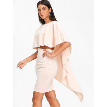 Bodycon Skirt and High Low Cape - PINKBEIGE L