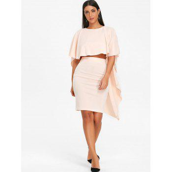 Bodycon Skirt and High Low Cape - PINKBEIGE XL