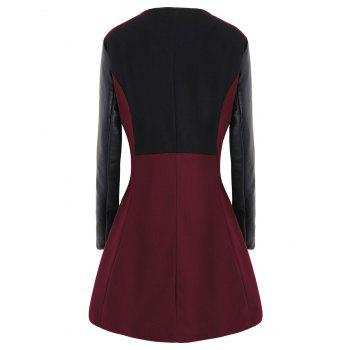 Plus Size Color Block Faux Leather Sleeve Coat - WINE RED XL