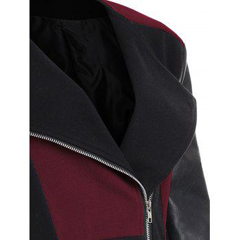 Plus Size Color Block Faux Leather Sleeve Coat - WINE RED 2XL