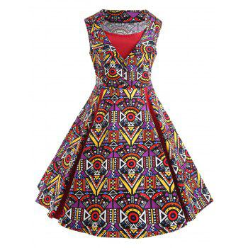 Plus Size Poker Print 50s Vintage Dress - RED RED