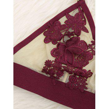Mesh Sheer Appliques Bralette Set - WINE RED S